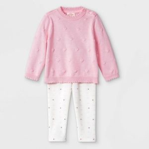 Baby Girls Heart Bobble Sweater Top & Bottom Set